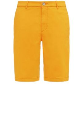Slim-fit shorts in satin-effect fabric, Open Orange