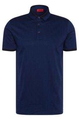 Mottled slim-fit polo shirt in mercerised cotton: 'Denno', Blue