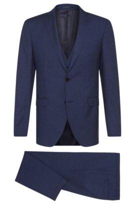 Fein gemusterter Extra Slim-Fit Anzug aus Schurwoll-Mix mit Seide: 'Reyno3/Wave1 WE', Blau