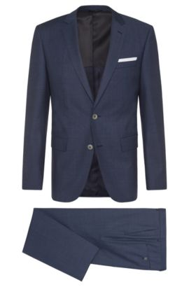 Slim-fit suit in new wool with mother-of-pearl buttons: 'Hutson4/Gander1', Blue