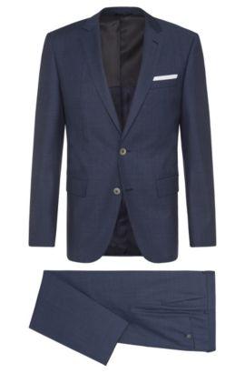 Costume Slim Fit en laine vierge à boutons en nacre: «Hutson4/Gander1», Bleu