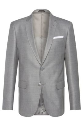 Slim-fit jacket in a new-wool blend with silk: 'Hutsons3', Silver