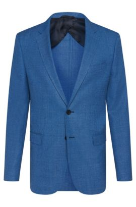 Textured slim-fit jacket in new wool with horn buttons: 'Nobis2', Turquoise