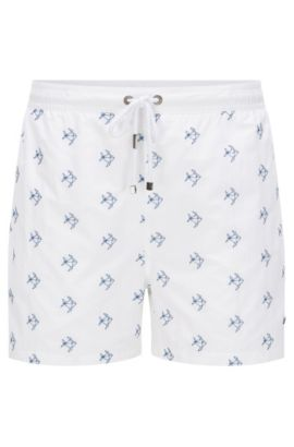 Embroidered swim shorts in a quick-drying fabric blend: 'White Shark', Open White