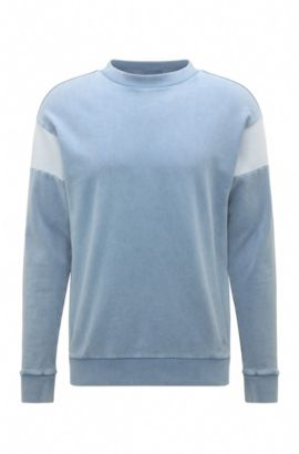 Regular-fit cotton sweatshirt in washed out look: 'Wham', Open Blue