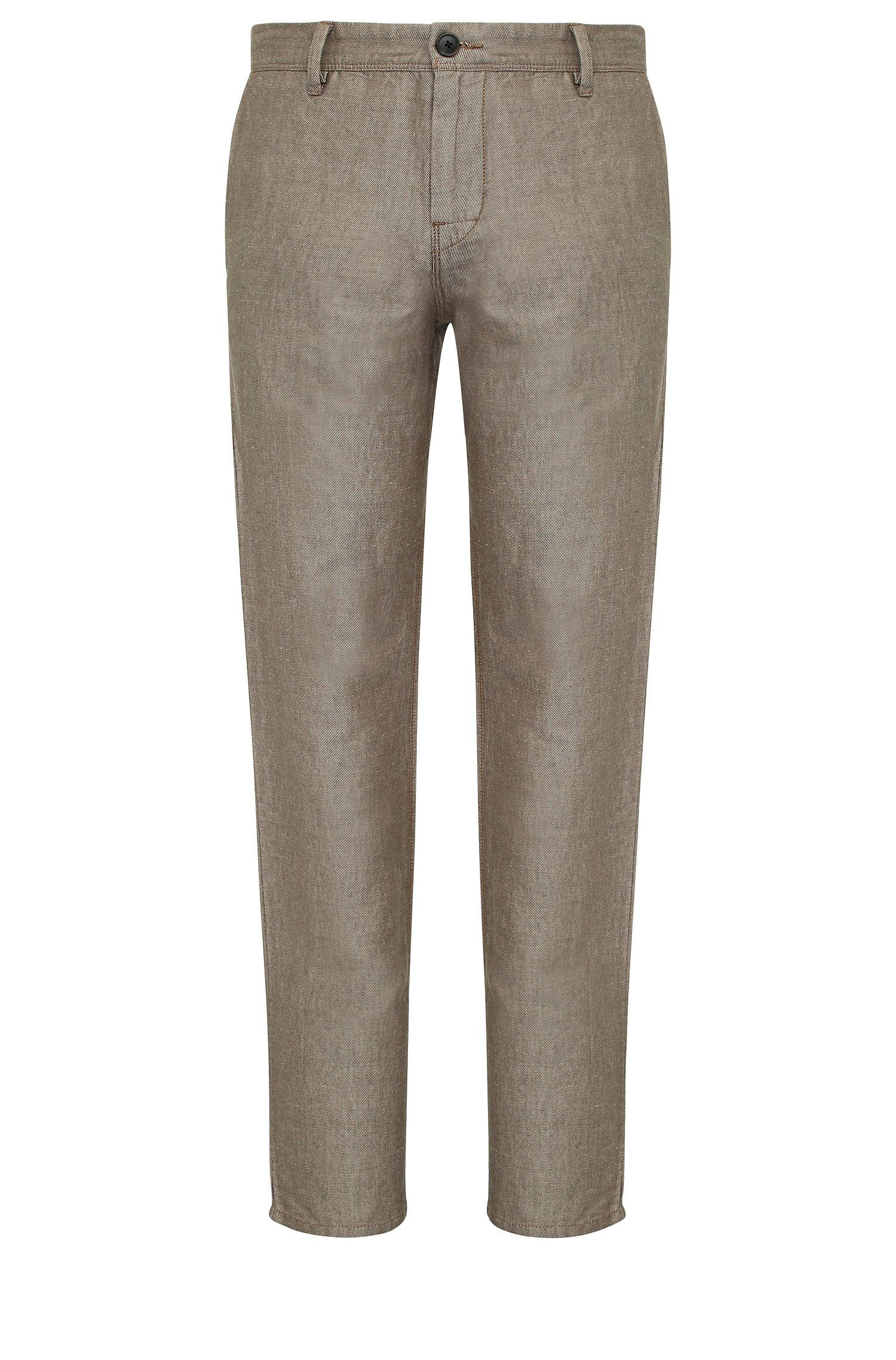 Chino tapered fit in misto lino con cotone: 'Stapered1-W'