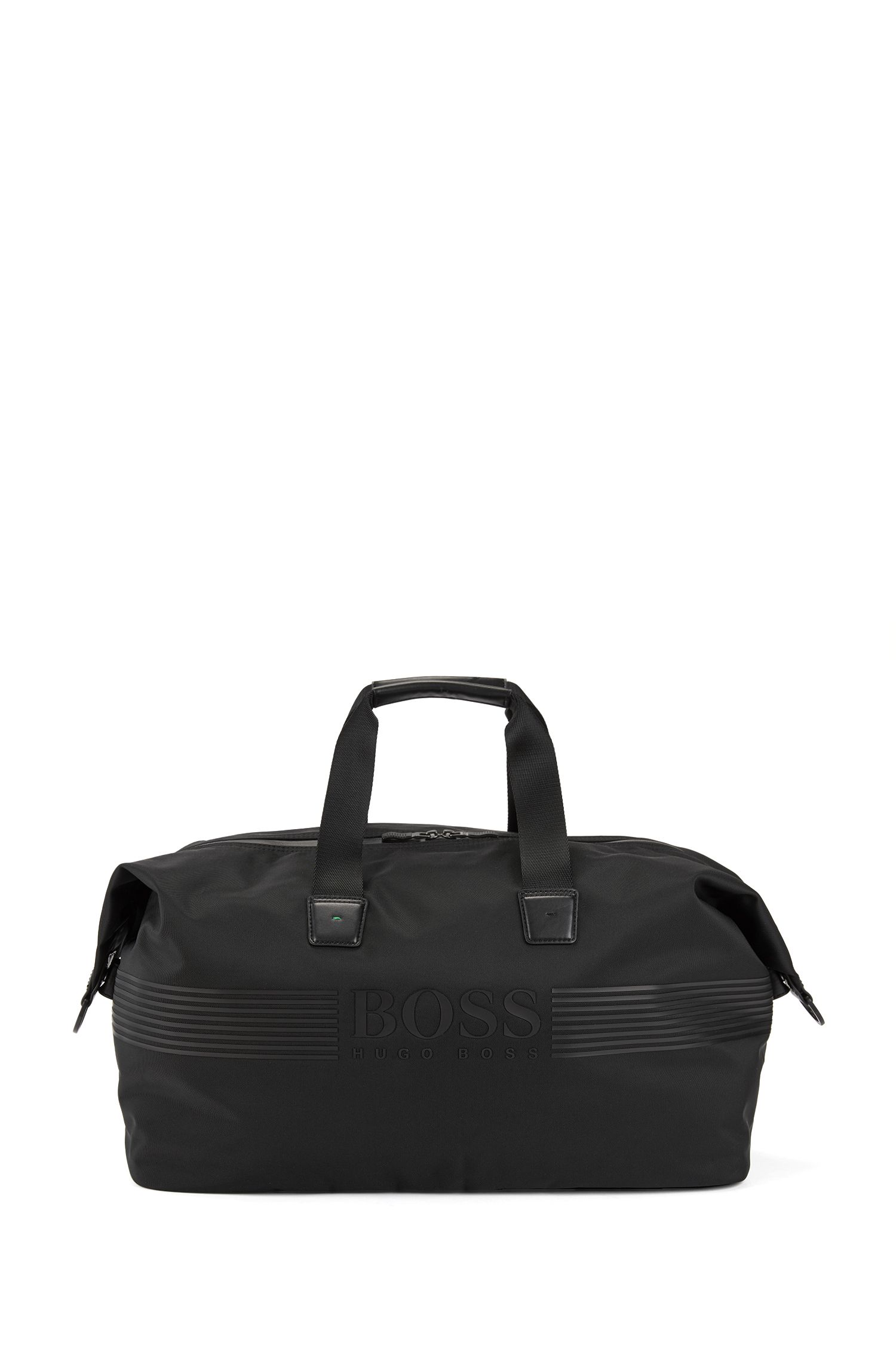 Travel bag in material blend with leather-look logo: 'Pixel_Holdall'