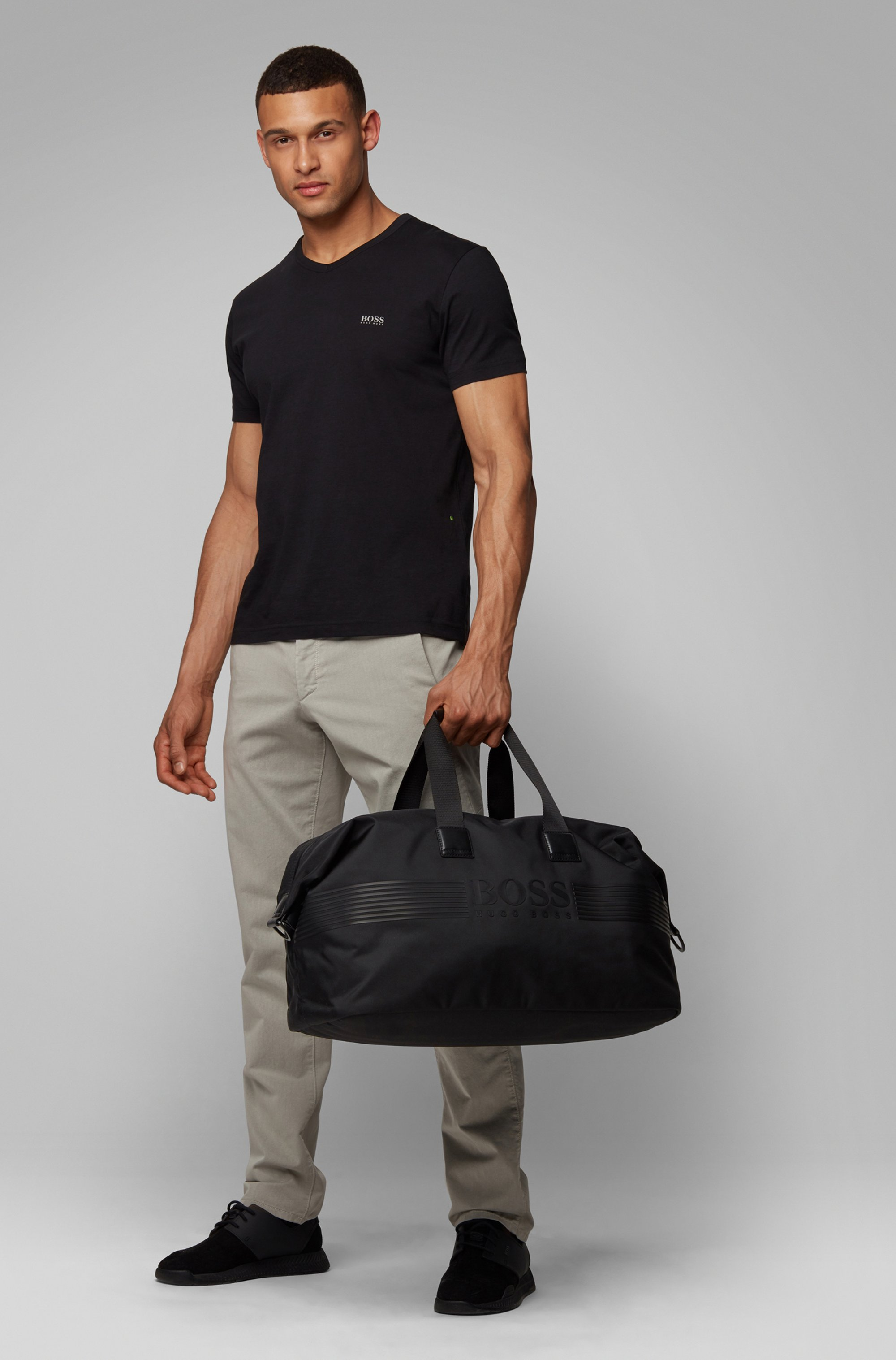Structured-nylon holdall with silicone-print logo