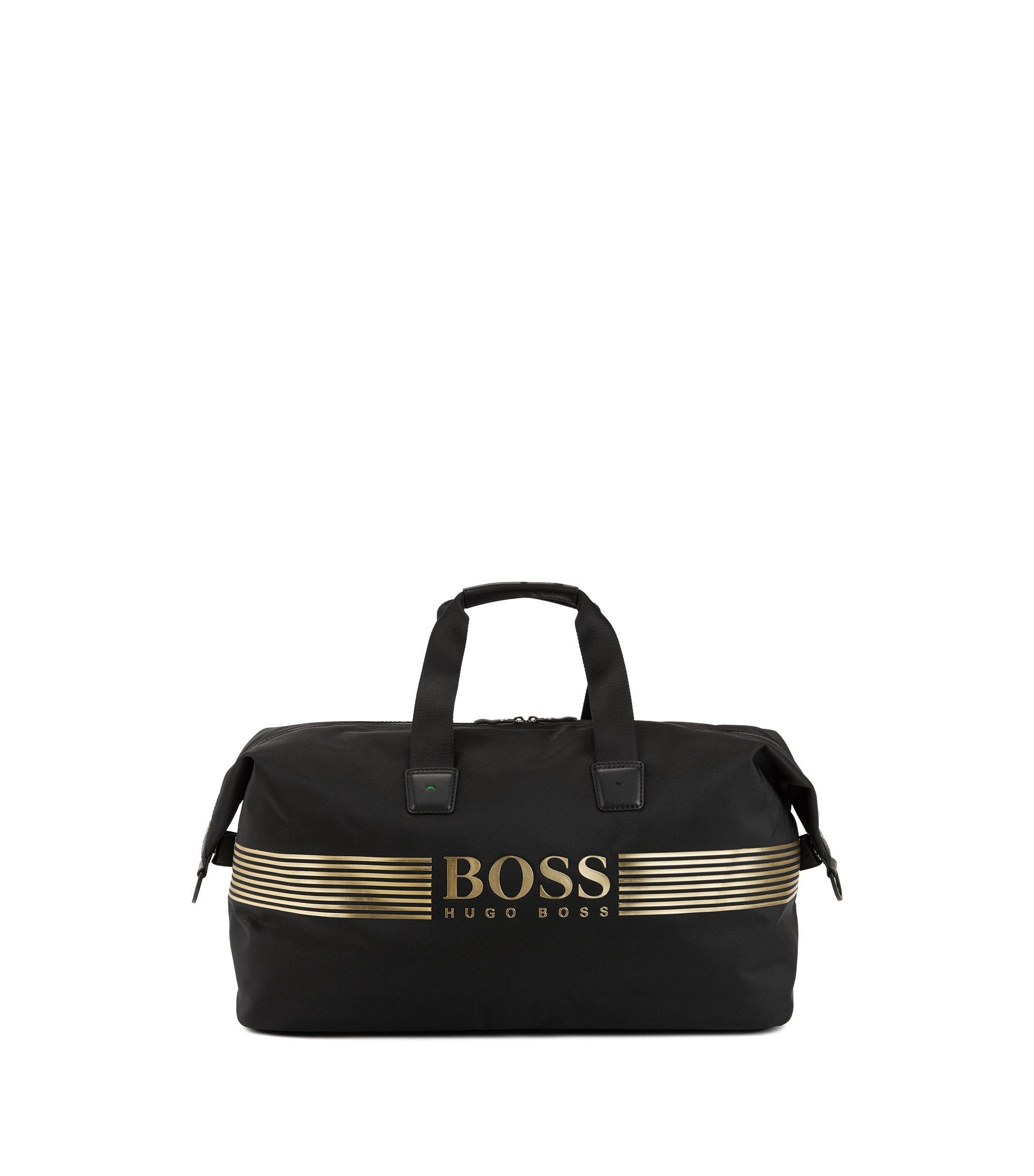 Sporttasche aus Nylon mit wasserdichtem Reißverschluss, Schwarz
