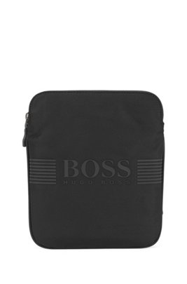 Structured-nylon cross-body bag with silicone-print logo, Black