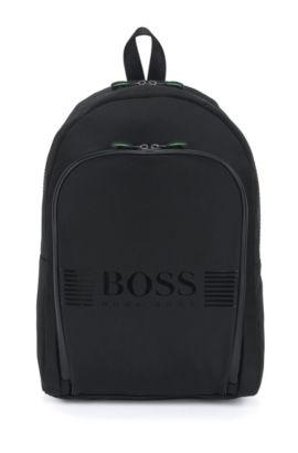 Rucksack aus Nylon mit großem Logo-Detail von BOSS Green, Schwarz