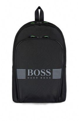 Sac à dos en nylon orné d'un logo distinctif, Noir