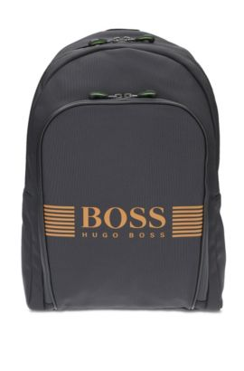 Nylon backpack with statement logo detail, Anthracite