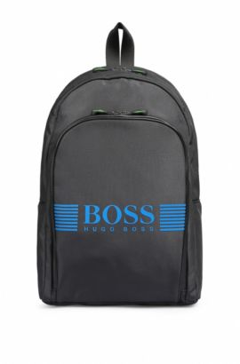 Nylon backpack with statement logo detail, Dark Grey
