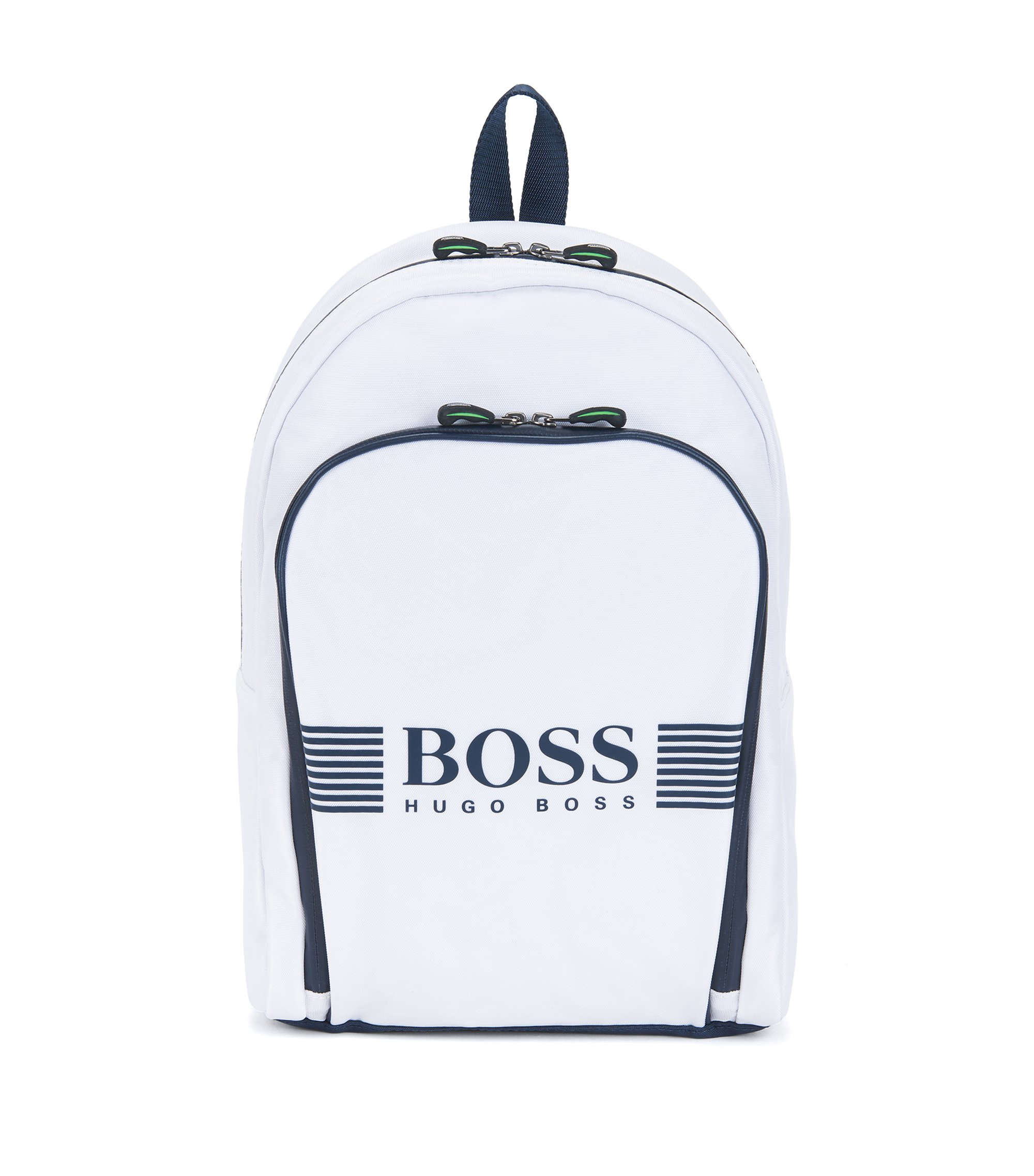 Nylon backpack with statement logo detail, Natural