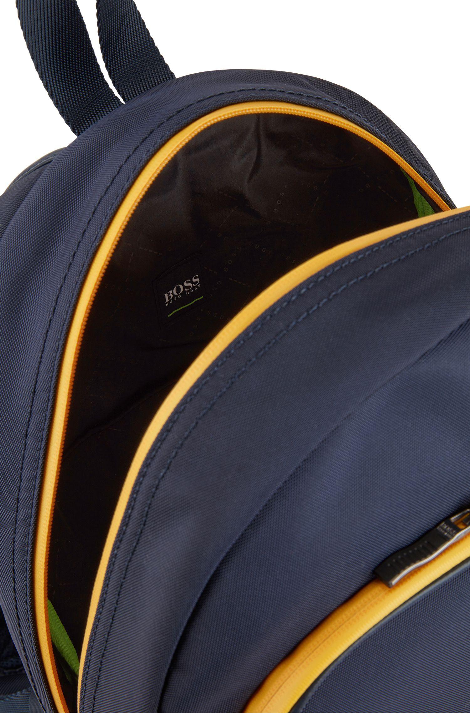 Nylon backpack with statement logo detail, Dark Blue