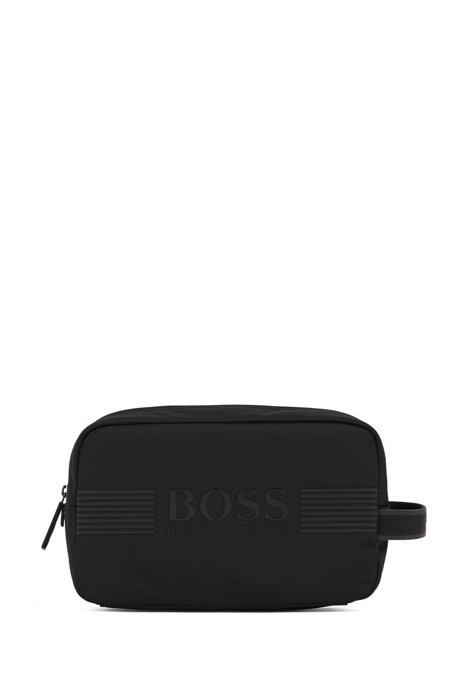 Logo-print washbag in structured nylon with waterproof zip, Black