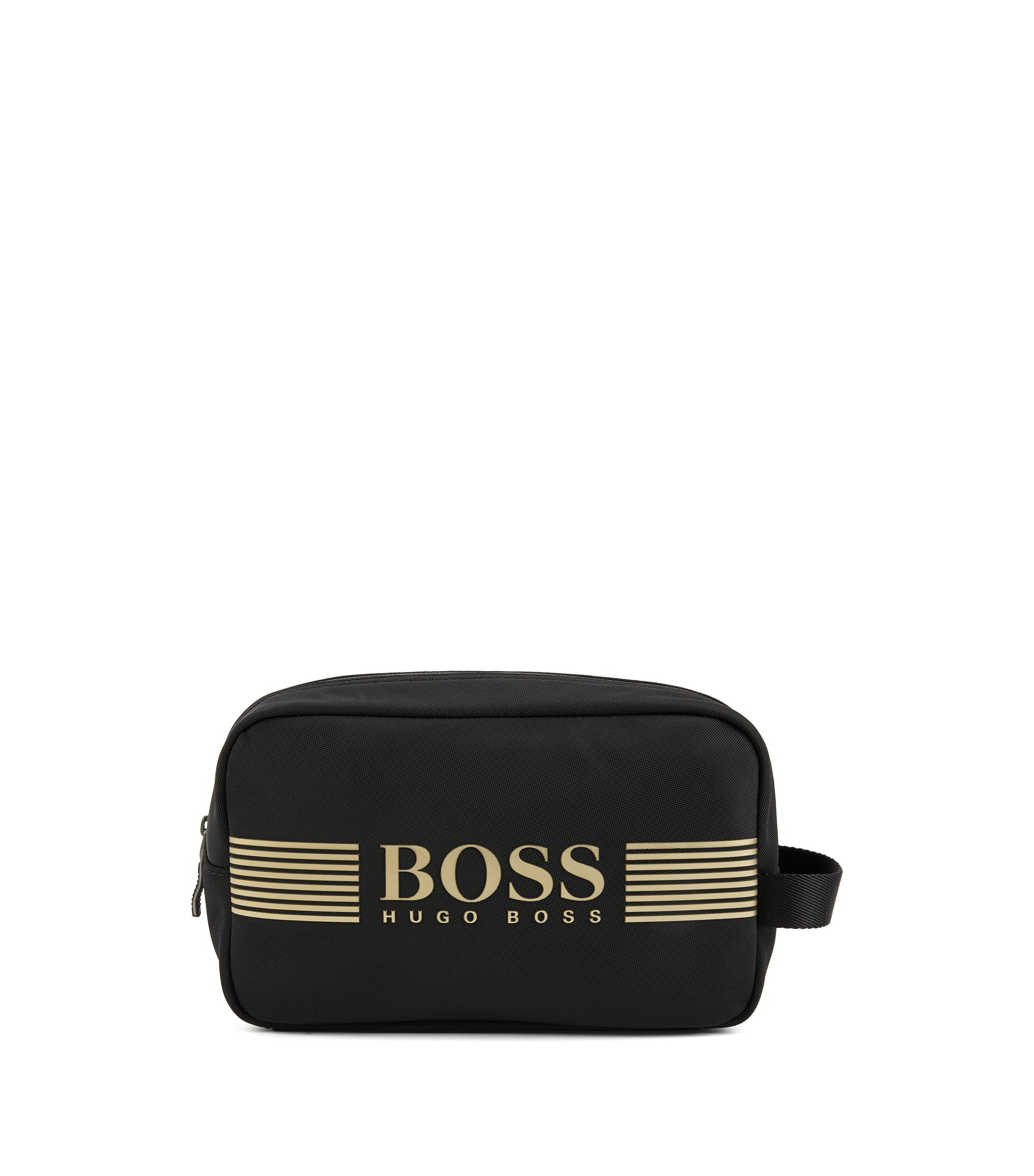 Wash bag in durable nylon, Black