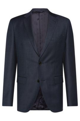 Giacca regular fit in leggera lana vergine strutturata: 'Jeen1', Blu scuro