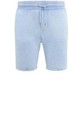 Regular-fit short van katoen met used-wassing: 'Syd', Lichtblauw
