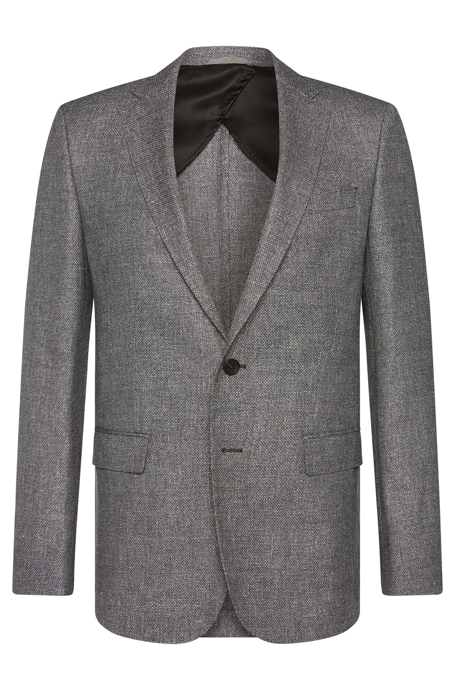 Slim-fit jacket in new-wool blend with linen: 'Nobis2'