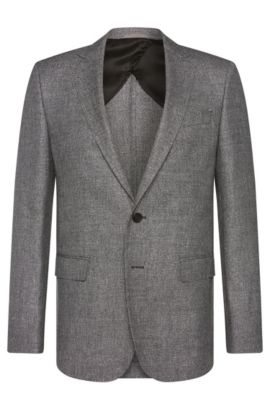 Slim-fit jacket in new-wool blend with linen: 'Nobis2', Grey