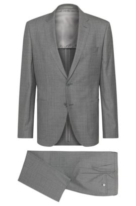 Regular-fit suit in new wool with mother-of-pearl buttons: 'Janon/Lenon', Grey