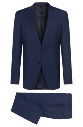 Slim-fit suit in new-wool blend with silk: 'Huge5/Genius3', Dark Blue