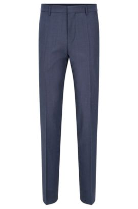 Slim-fit trousers with pressed creases in new-wool blend with mohair: 'Genesis2', Dark Blue