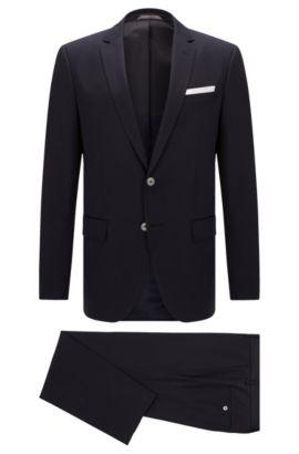 Slim-Fit Anzug aus Stretch-Baumwolle mit Perlmuttknöpfen: 'Hutson4/Gander1', Dunkelblau