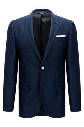 Americana slim fit en lana virgen con botones de nácar: 'Hutsons3', Azul oscuro