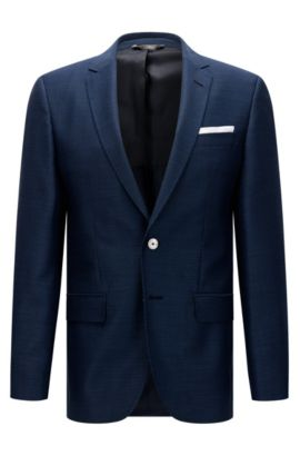 Slim-fit jacket in new wool with mother-of-pearl buttons: 'Hutsons3', Dark Blue