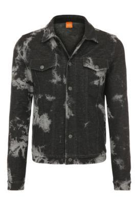 Regular-Fit Trucker-Jacke aus elastischer Baumwolle im Batik-Stil: ´Zabbath`, Schwarz