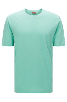 Relaxed-fit T-shirt in cotton blend with linen: 'Dremont', Green