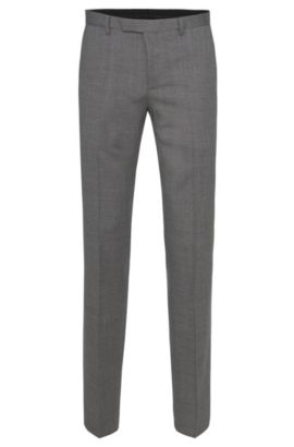 Pantalón regular fit en pura lana virgen con textura fina: 'Lightning1', Gris
