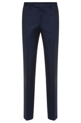 Regular-fit trousers with pressed creases in new wool: 'Lightning1', Dark Blue