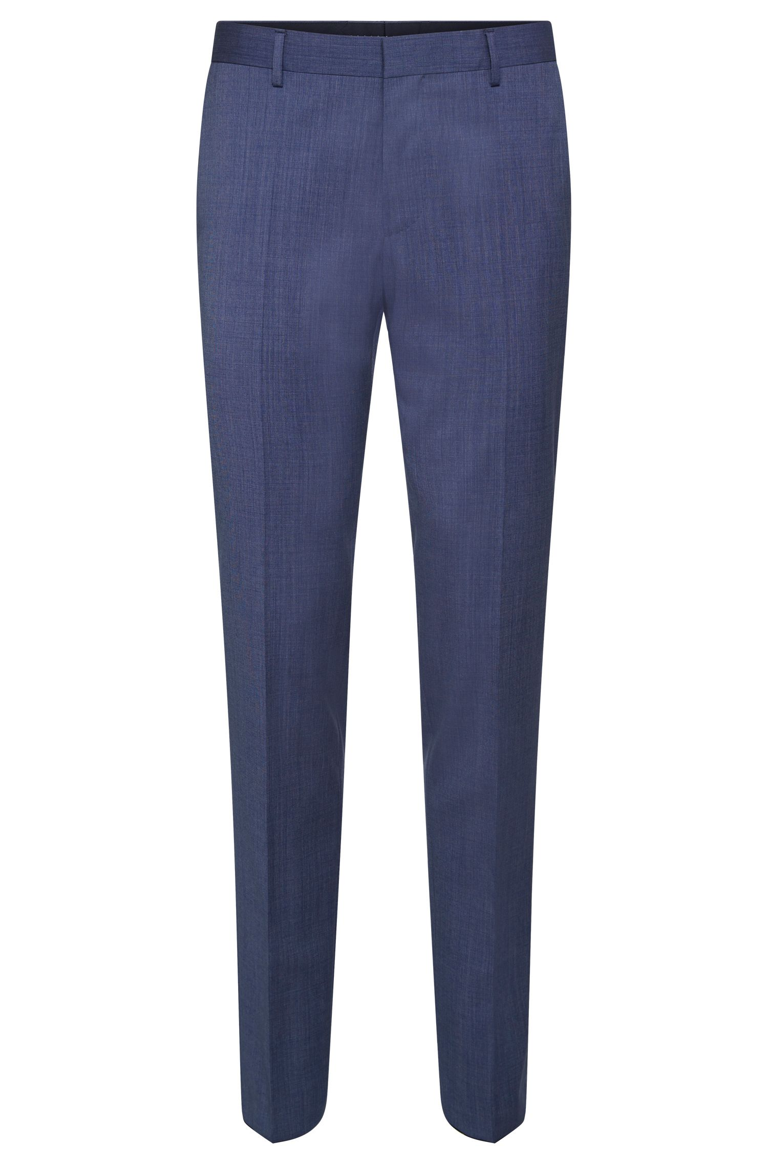 Slim-fit trousers in new wool with piping in a contrasting colour: 'Bevan'