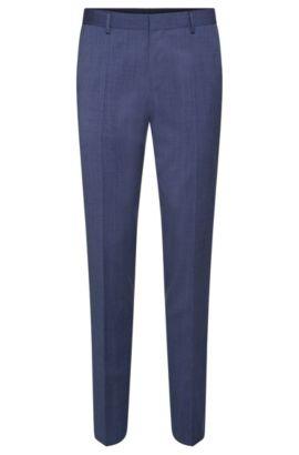Pantalon Slim Fit en laine vierge à passepoils de couleur contrastante: «Bevan», Bleu