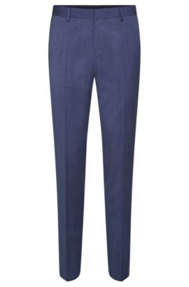 Slim-fit trousers in new wool with piping in a contrasting colour: 'Bevan', Blue