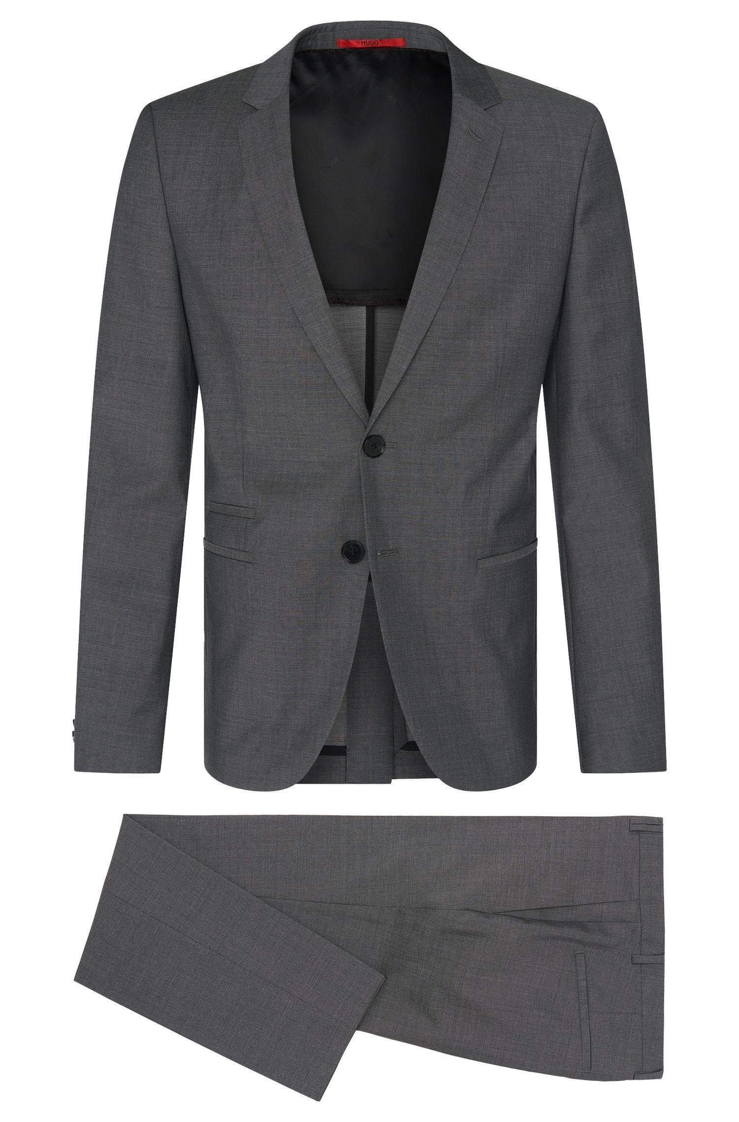 Melierter Slim-Fit Anzug aus Schurwolle: 'Arlid1/Heilon1'