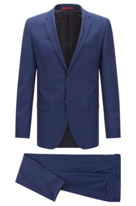 Traje slim fit en lana virgen con textura: 'Anlon/Hets', Azul