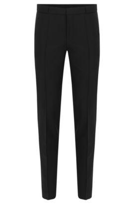 Pantalón con raya slim fit en mezcla de lana virgen con mohair: 'Braydon', Negro