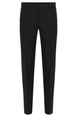 Slim-fit trousers with pressed creases in new-wool blend with mohair: 'Braydon', Black