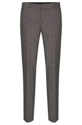 Slim-fit trousers with pressed creases in new-wool blend with mohair: 'Braydon', Open Grey