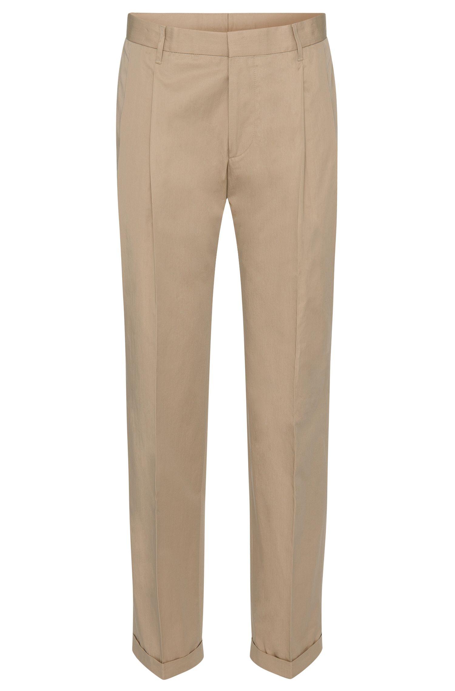 Slim-fit broek van katoen met bandplooien: 'Paton'