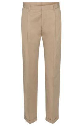 Pantalon Slim Fit en coton à pinces: «Paton», Beige clair