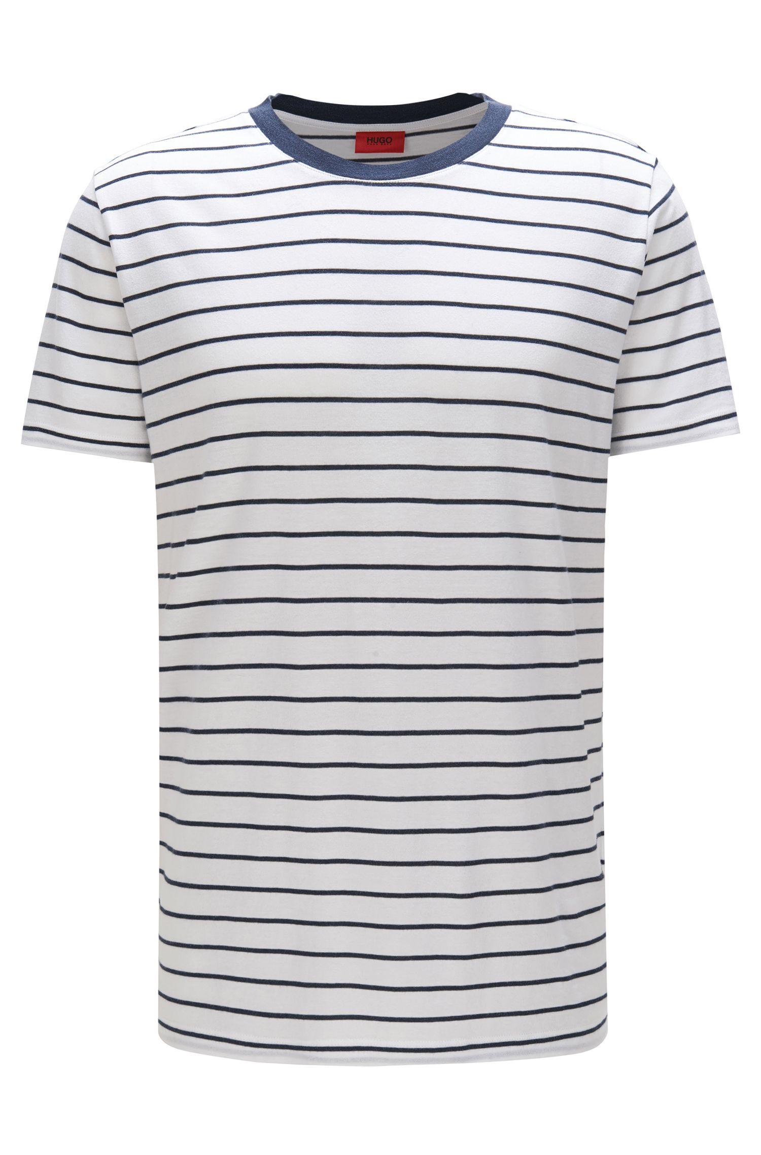 Gestreiftes Relaxed-Fit T-Shirt aus Material-Mix mit Baumwolle: 'Drimble'