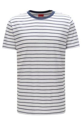 Gestreiftes Relaxed-Fit T-Shirt aus Material-Mix mit Baumwolle: 'Drimble', Weiß