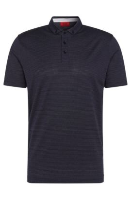 Patterned regular-fit polo shirt in cotton: 'Dackard', Dark Blue