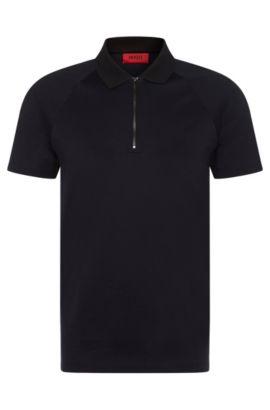 Fein strukturiertes Slim-Fit Poloshirt aus Baumwolle: 'Dericsson', Schwarz
